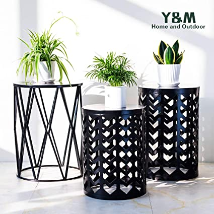 Marvelous Ym Round Metal Garden Stool Side Table For Indoor Outdoor Use Plant Stand Set Of 3 Black Ncnpc Chair Design For Home Ncnpcorg