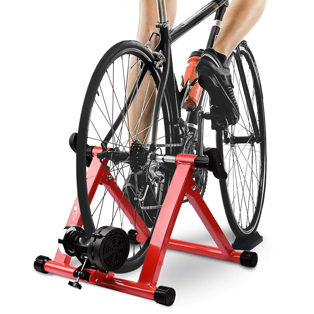 HEALTH LINE PRODUCT 8 Levels Magnetic Resistance Indoor Bike Trainer,Fits 26-28 inch 700c Bicycle Exercise Trainer Stand w Front Wheel Block and Quick Release Skewer by HEALTH LINE PRODUCT
