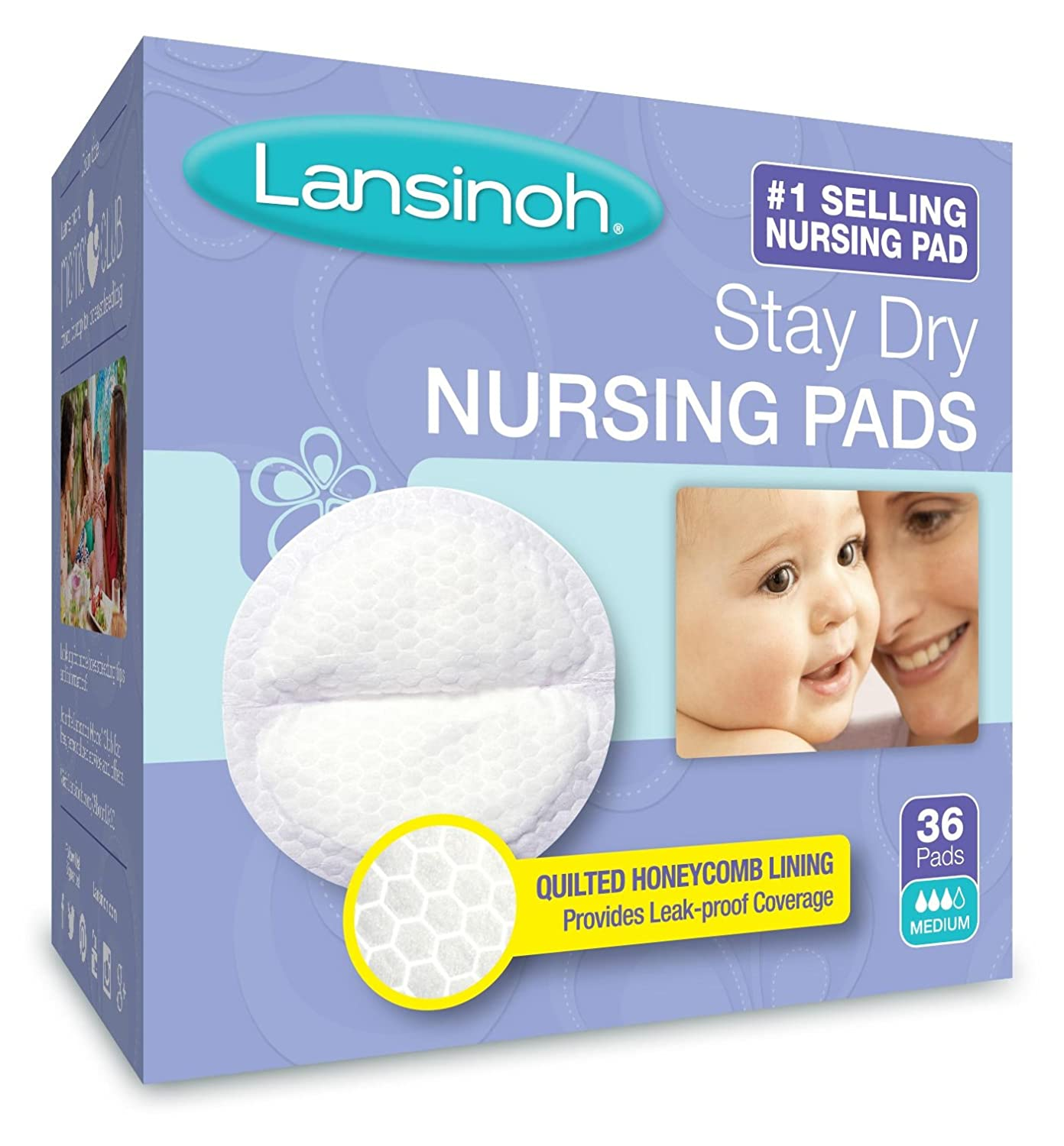 Lansinoh Nursing Pads, Pack of 36 Stay Dry Disposable Breast Pads 20236