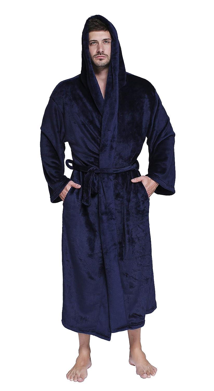 Honofash Bathrobe Men Dressing Gown Towelling Hooded Terry Fluffy Boy Luxury Long Plus Size XXXL Spa XXL Belt Navy