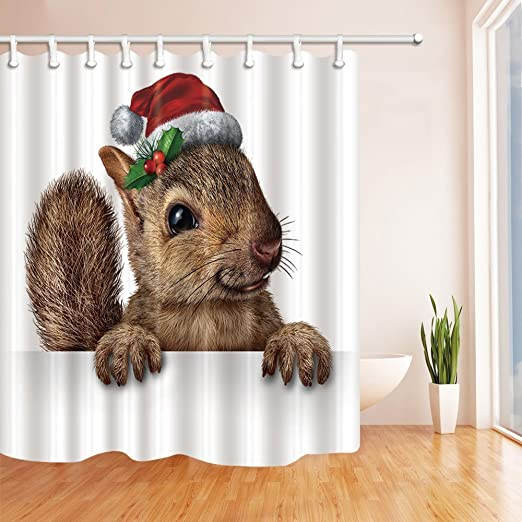 "Deer Eating Leaves In Winter Waterproof Polyester Fabric Shower Curtain Set 71/"""