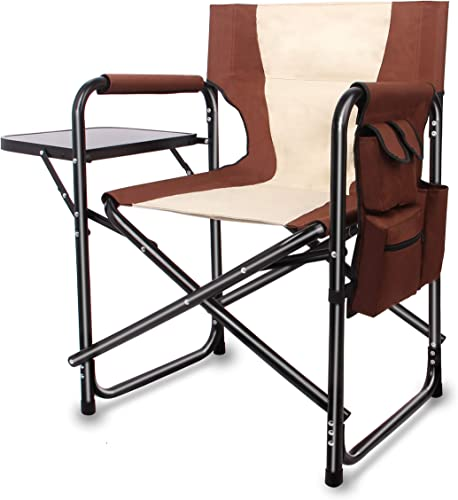 Directors Chair Portable Camping Chair Folding – Lightweight Full Aluminum Frame Makeup Artist Chair Heavy Duty with Armrest Side Table Storage Bag Indoor Outdoor 300 lbs Supports