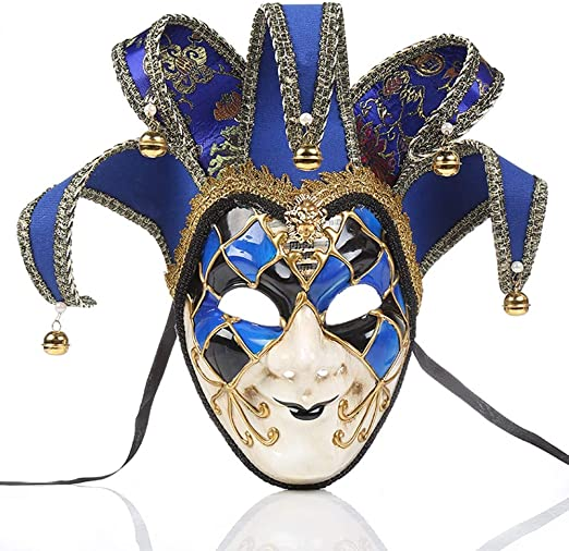 Venetian Blue Brocade Lace Female Feather Mask /& Jester Male Mask
