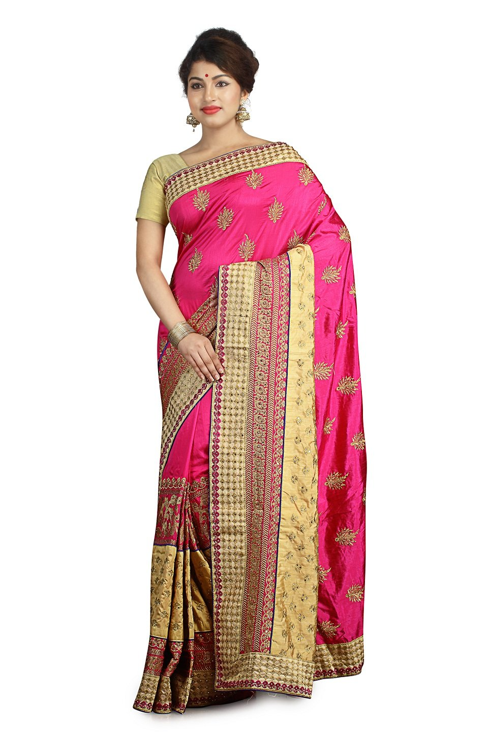 Indian Ethnic Raw Silk Pink Fancy Saree