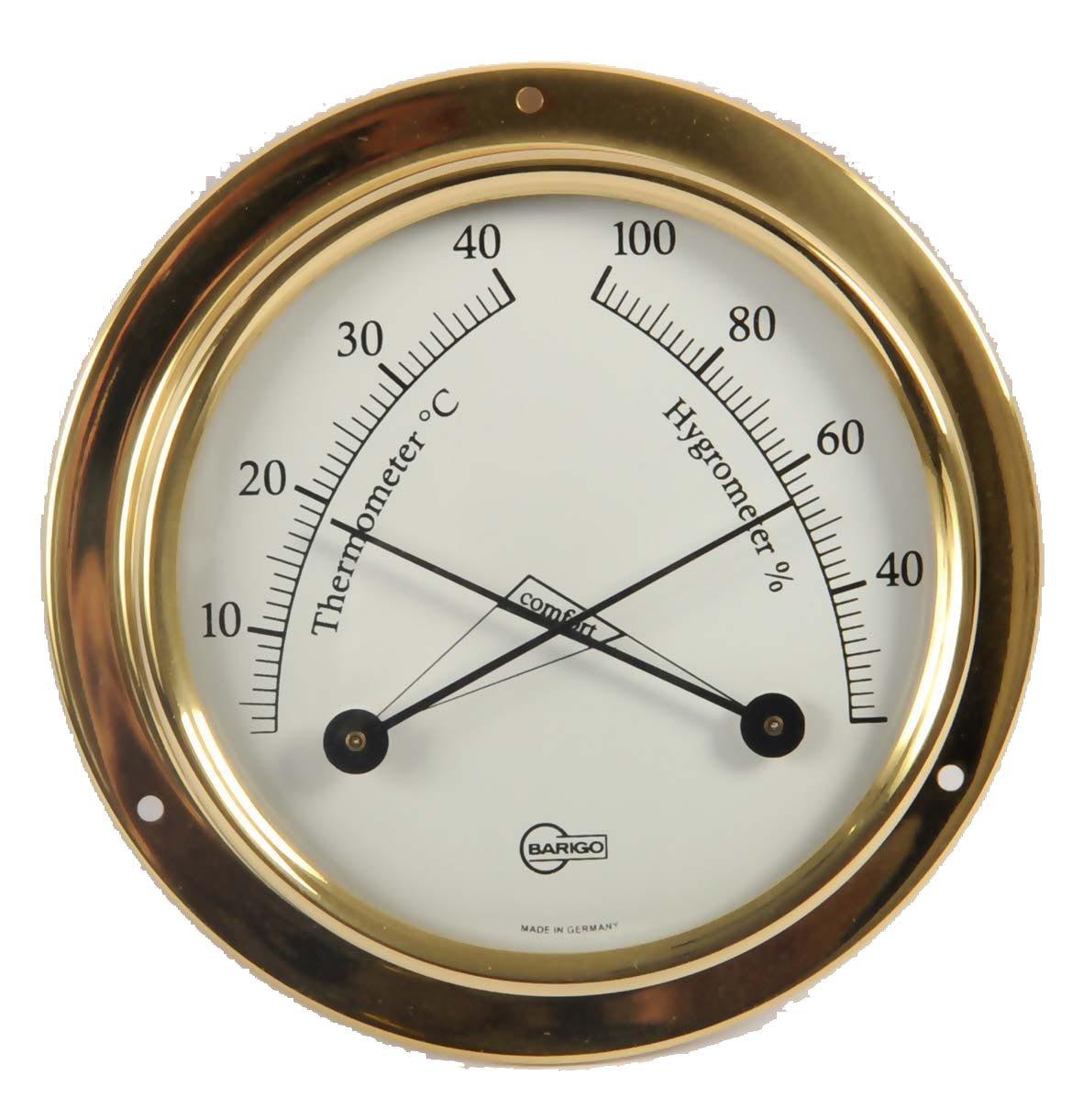 BARIGO Tempo S Polished Brass Hygrometer Thermometer 70mm