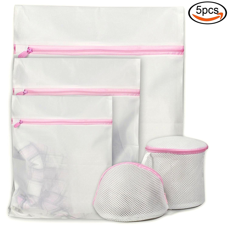 Goodlucky365 5 Pcs Delicates Laundry Bags Washing bags Mesh Garment Bag Bra Washing Bag Sock Washing Bag - Large, Medium, Small for Washing Machine/Dryer Lingerie Washer, Baby Clothes, Underwear, Organizer, Travel