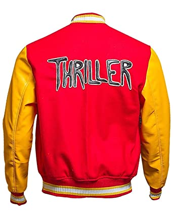 5617897ef27 MJ Thriller Red M Logo Varsity Letterman Bomber Varsity Jacket at ...