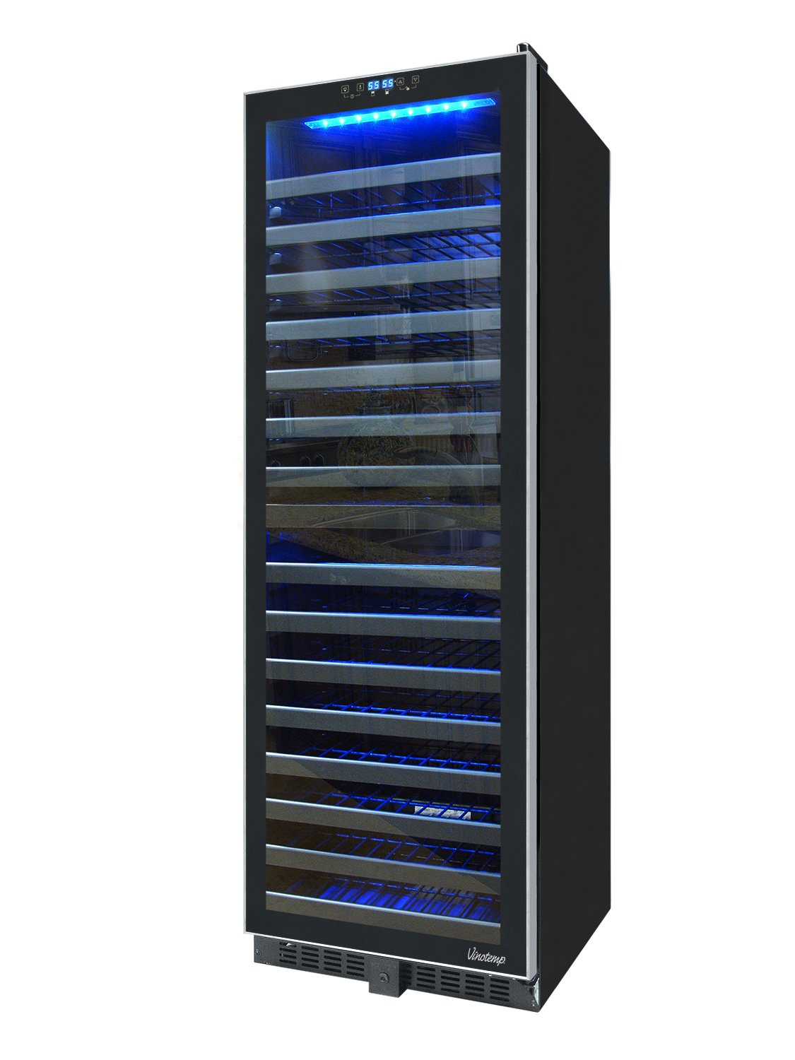 Vinotemp VNTVT-145TSST-2Z 142 Bottle Dual-Zone Wine Cooler with Seamless Glass Door and Stainless Trim by Vinotemp