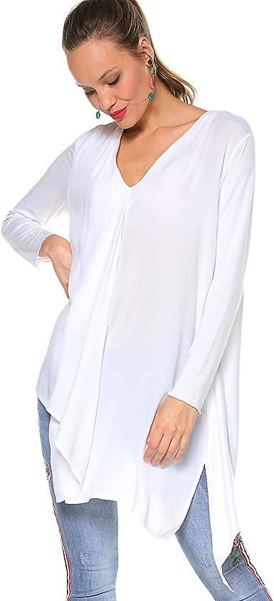 VENCA Blusa Escote v con Pliegue en el Delantero Mujer by Vencastyle - 024612: Amazon.es: Ropa y accesorios
