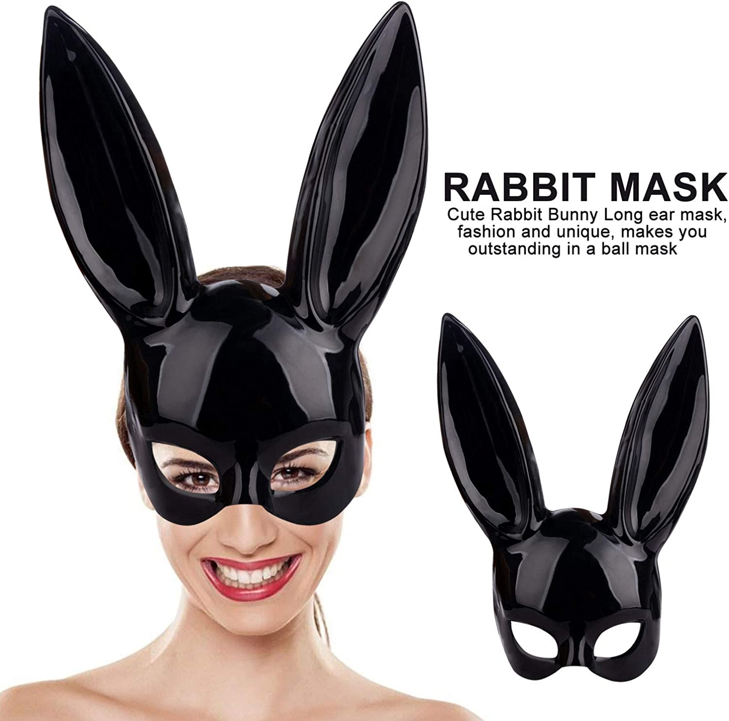 Womens Masquerade Rabbit Mask for Birthday Easter Halloween Eve Party Costume Accessory Nolonger Bunny Mask
