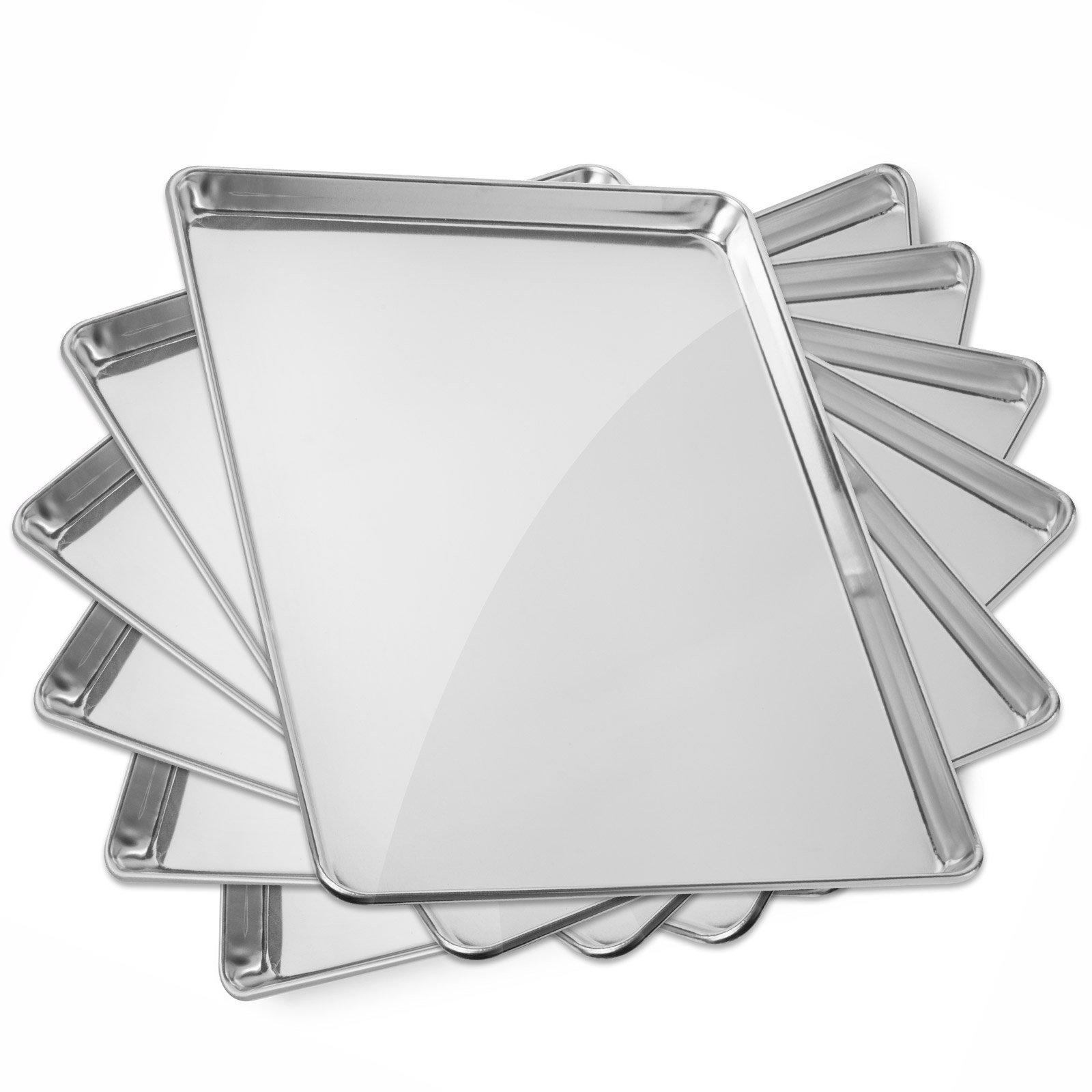 Gridmann 18'' x 26'' Commercial Grade Aluminium Cookie Sheet Baking Tray Pan Full Sheet - 6 Pans