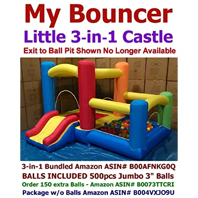 "BALLS INCLUDED - My Bouncer 3-in-1 Little Castle Bounce 118"" L X 102"" D X 72"" H with Attached Ball Pit and Slide: Toys & Games"