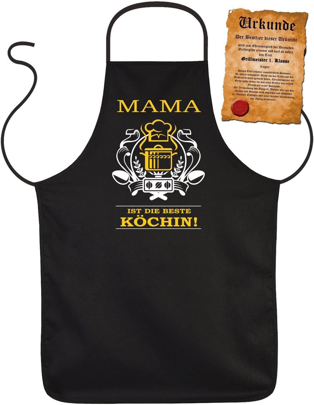 Latz- Kochsch/ürze - Mama ist die beste K/öchin! - M/ütter Geschenkidee zum Geburtstag... - 100/% Baumwolle one Size in schwarz mit kostenloser Geschenk-Urkunde :