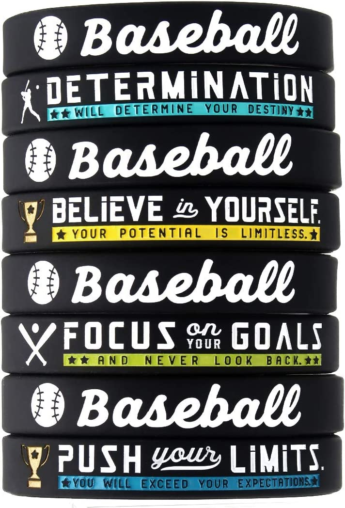 Unisex for Boys Girls Men Women Wholesale Pack of 12 Silicone Rubber Wristbands for Bulk Baseball Team Gifts and Party Favors Baseball Bracelets with Motivational Sports Quotes 12-Pack