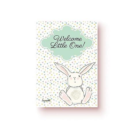 Lunadei Tarjeta de Felicitación con sobre | Ideal para Nacimiento o Bautizo | Modelo: Tierno Conejito | Frase: Welcome Little One | Diseño Unico ...