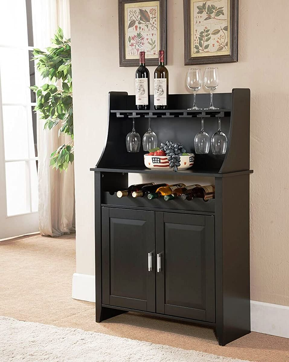 Kings Brand Furniture Wood Wine Rack Buffet & Storage Cabinet, Black