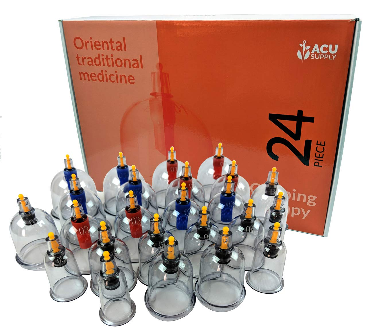 24 Piece Vacuum Cupping Therapy Set - Vacuum Cupping Set for Home Use - Cellulite Cups with Self Hand Pump- for Natural Pain and Stress Relief