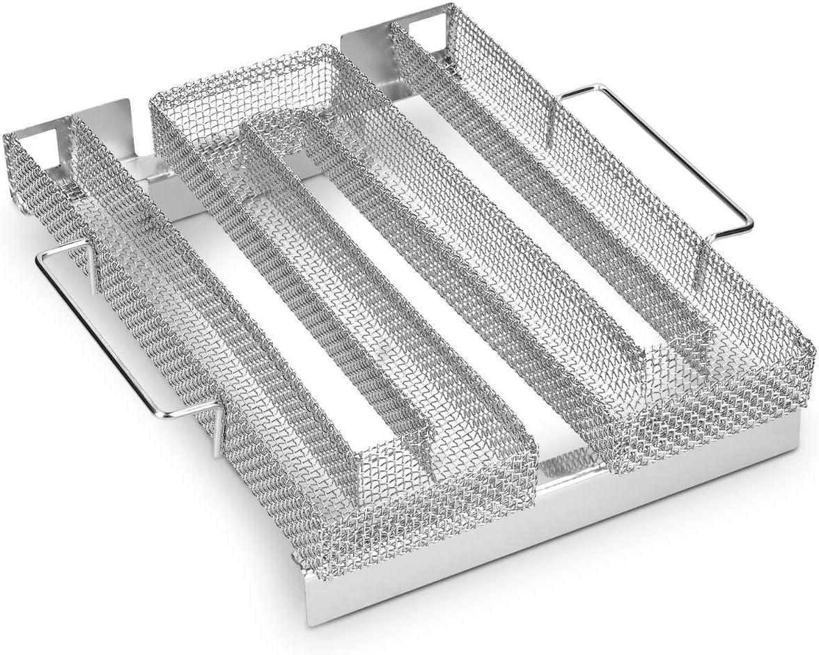 Navaris Generador de Humo frío con Forma de M - Ahumador de Acero Inoxidable para ahumar en Barbacoa o Armario de Humo - para Carne Pescado Queso