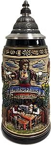 Deutschland Germany Biergarten Beer Garden LE Stoneware German Beer Stein 1 L