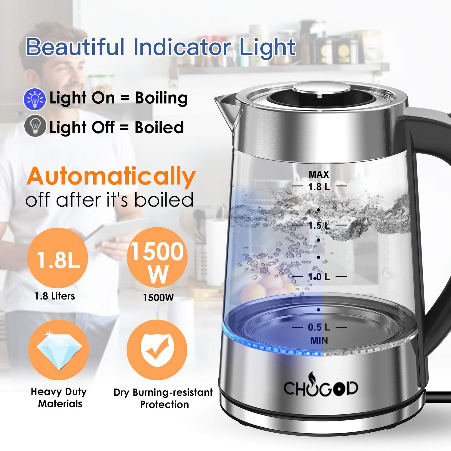 Electric Kettle 1500W Tea Kettle 1.8L Cordless Water Heater BPA-Free Auto Shut-Off /& Boil-Dry Protection Stainless Steel Glass Water Boiler With LED Blue Light Borosilicate Glass