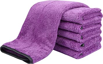 6 Pack Ultra Absorbent Car wash Cleaning Auto Detailing Towels Purple SINLAND Microfiber Car Drying Towels 16 in.x 24 in