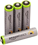 AmazonBasics - Pile Ricaricabili Mini Stilo AAA ad alta capacità, pre-caricate, 4 pezzi, durata di 500 cicli (850 mAh, min. 800 mAh). Involucro esterno variabile