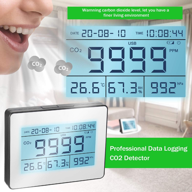 Kecheer Detector de di/óxido de carbono,Co2 detector,Co2 tester con temperatura//humedad//barom/étrica//calendario,Monitor de calidad del aire