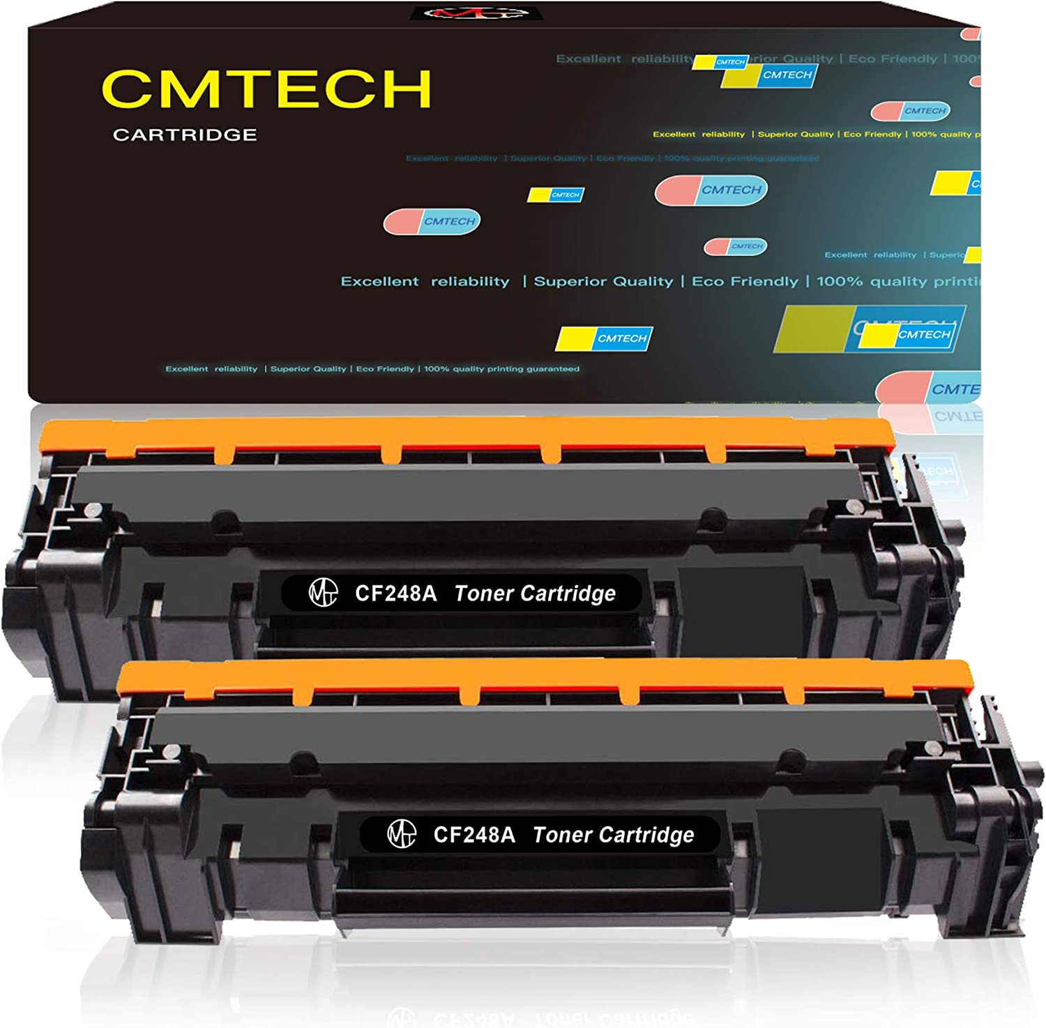 CMTECH Compatible Toner Cartridge Replacement for HP 48A CF248A Work for HP Laserjet Pro M15w M15a, MFP M29w M31w M28w M30w M16w Laser Printer (2 Pack Black, with Chip)