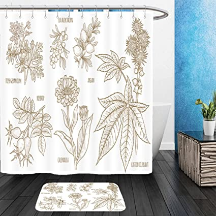 Vanfan Bathroom 2 Suits 1 Shower Curtains Floor Mats Calendula Rosehip Argan Rose Geranium