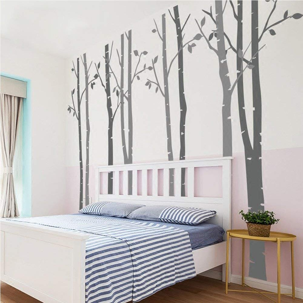 N.SunForest 7.8ft Dark Grey and Light Grey Birch Tree Vinyl Wall Decals Nursery Forest Family Tree Wall Stickers Art Decor Murals - Set of 8 by N.SunForest (Image #1)