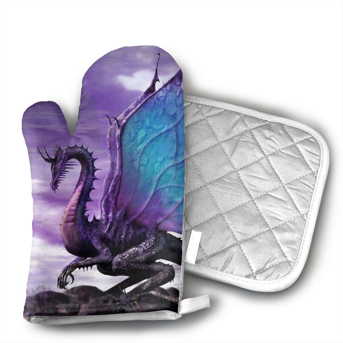 UYRHFS Purple Dragon Oven Mitts and Pot Holder Kitchen Set with, Heat Resistant, Oven Gloves and Pot Holders 2pcs Set for BBQ Cooking Baking