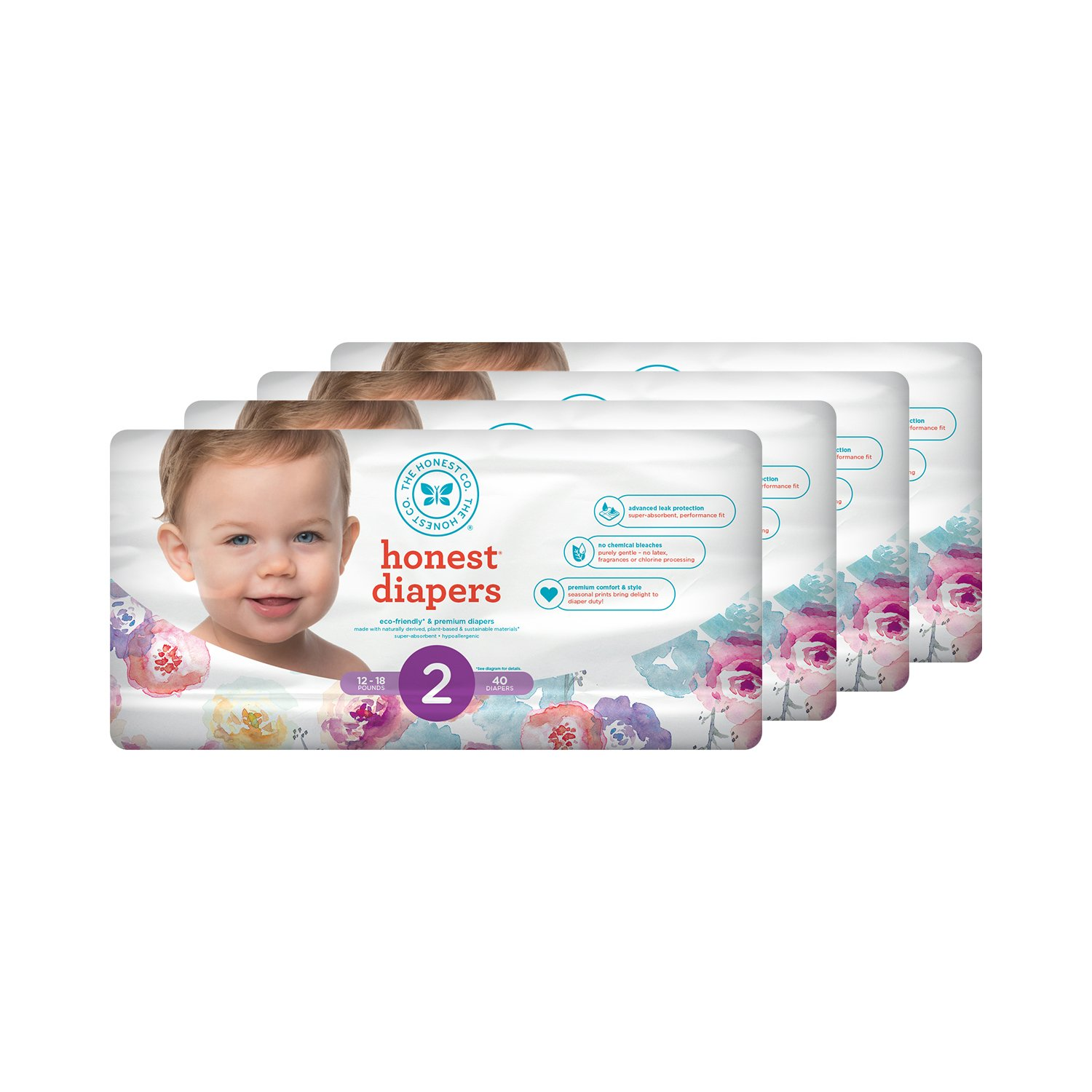 Honest Baby Diapers, Rose Blossom, Size 0 Newborn, 160 Count The Honest Company 816645026783