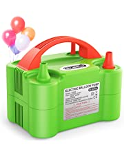 Dr.meter Balloon Air Pump, Electric Inflator Pump with Dual Nozzle Inflator Blower Portable Pump for Party, Wedding, Birthday, Promotional Activities and Festival Decoration(Red + blue)
