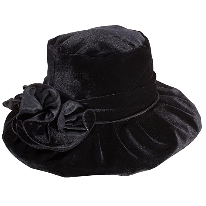 1950s Women's Hat Styles & History Lawliet Womens Kentucky Derby Formal Wide Brim Church Dress Wedding Velvet Hat A389 $16.99 AT vintagedancer.com