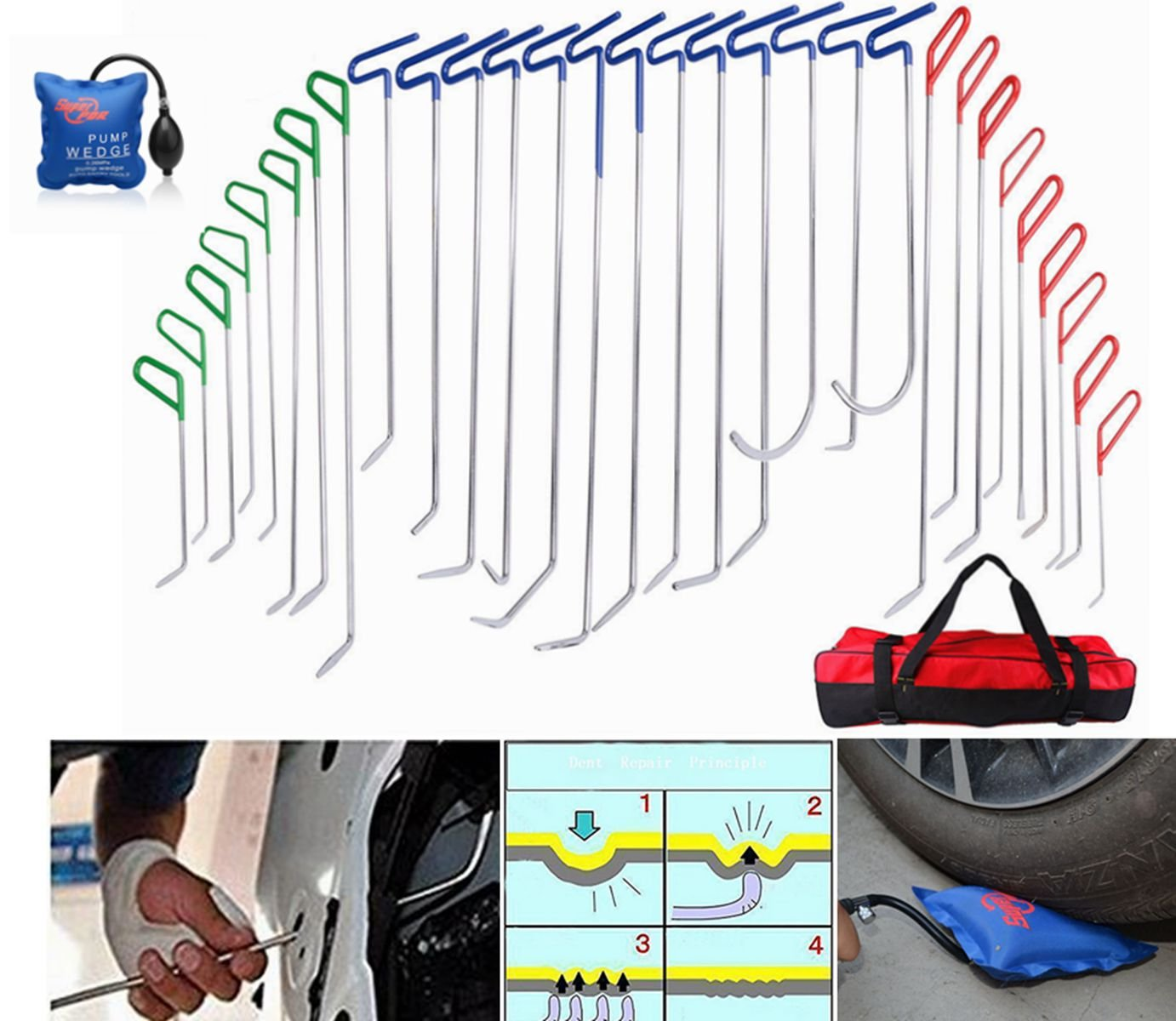 FLY5D 32Pcs PDR Tools Starter Car Dent Removal Tool Sets Car Paintless Dent Removal Repair Tool Kits