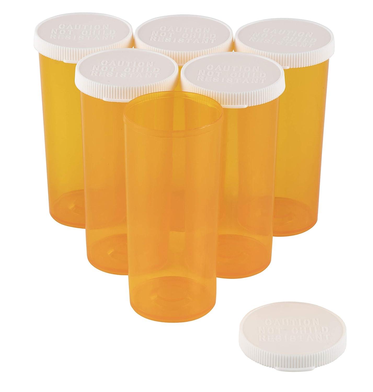 Prescription Bottles - 50-Pack Plastic Pill Bottles, Prescription Vials, Drug Holders, Snap Cap Pill Bottle, Pharmacy Vials, for Adults, Seniors, Hospital, Pharmacy, Clinic, 8 Dram, 1 x 1 x 2.6 Inches Juvale