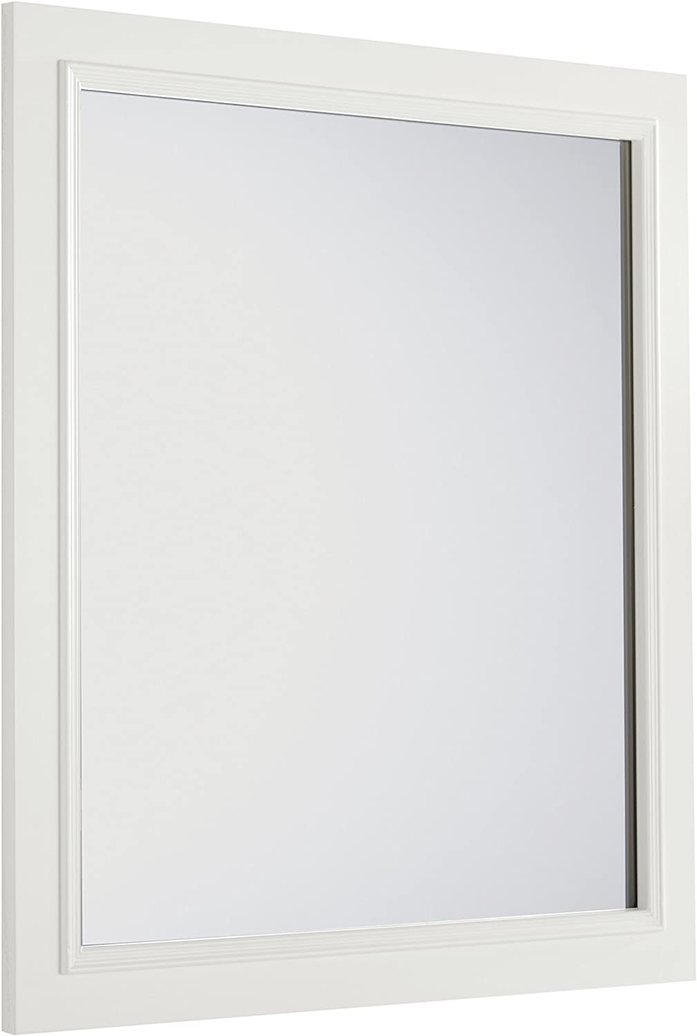 SIMPLIHOME Cambridge 32 inch x 34 inch Bath Vanity Décor Mirror in Off White