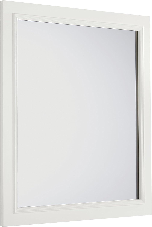 SIMPLIHOME Cambridge 32 inch x 34 inch Bath Vanity Décor Mirror in Off White