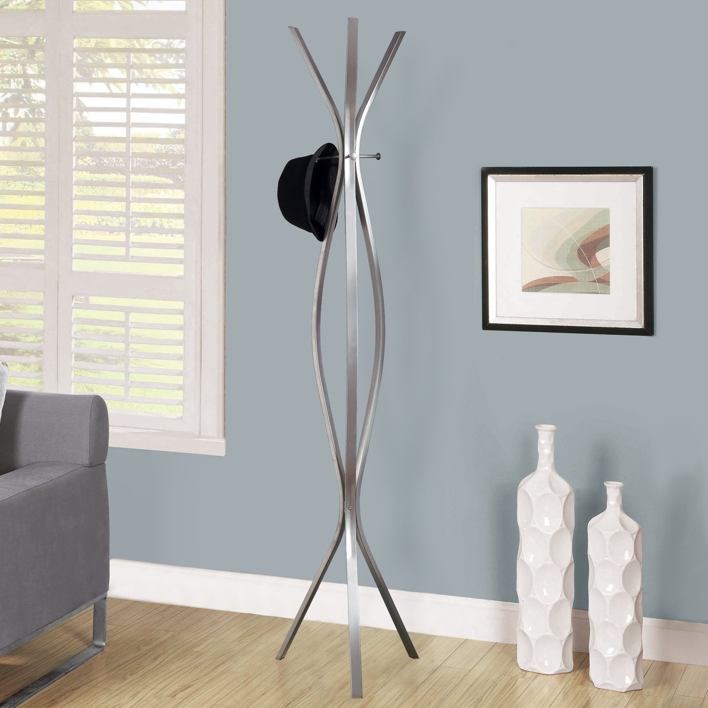 Monarch Specialties Contemporary High Coat Rack, 72 Inch, Cappuccino Metal Amazonca