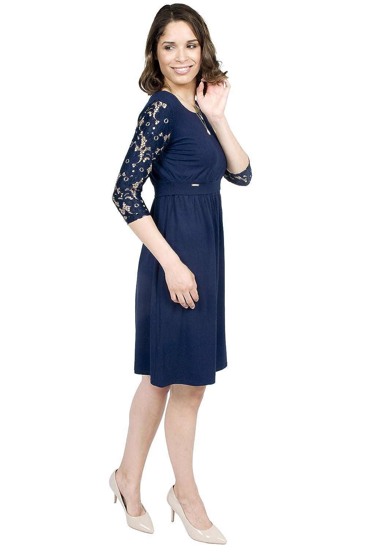 Mania Stillkleid Elegance dunkelblau mit Spitze erm/öglicht diskretes Stillen Stillkleid Langarm-Shirt schicke /& Bequeme Stillmode figurschmeichelnd A-Linie Gr/ö/ße: XS XL