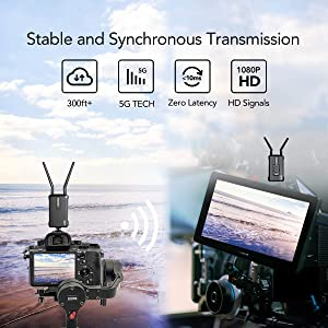 Wireless HDMI Video Transmitter and Receiver Kit, Hollyland Mars 300 5G Image Transmission System Support HD 1080P 300 Feet for DSLR and Mirrorless Camera Gimbal with Multi-Function Double Ballhead (Color: 5G Transmission With Multi-Function Double Ballhead)