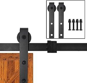 2 PCS Black Sliding Door Barn Door Hardware Wheels,Solid Carbon Steel J-Shape Roller Hangers Kit,Smooth and Quiet Door Wheels,240lb Weight Capacity
