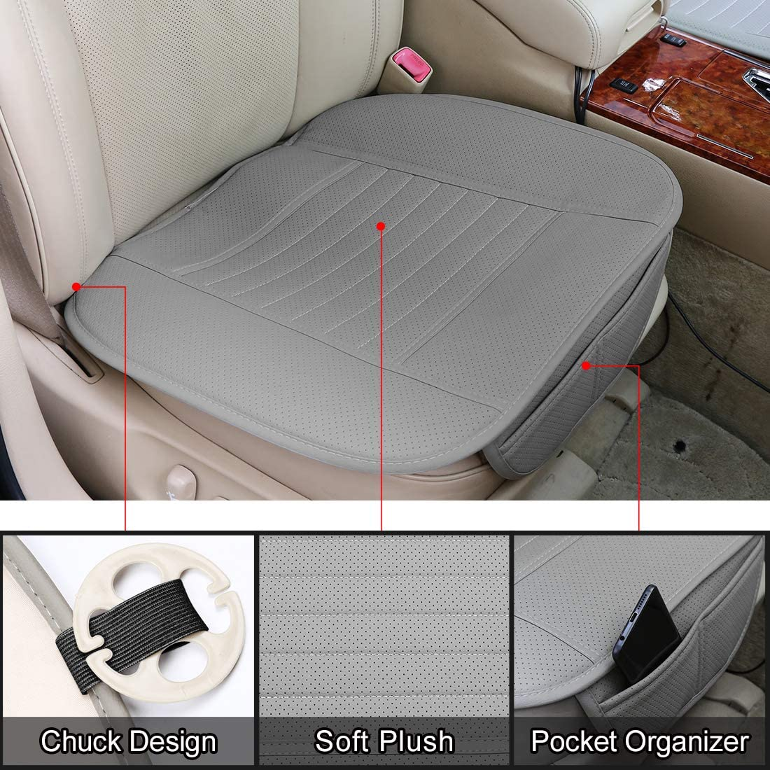 uxcell Front Rear Car Seat Cushion Breathable Leatherette Seat Pad Mat Set for Vehicle Office Universal Black