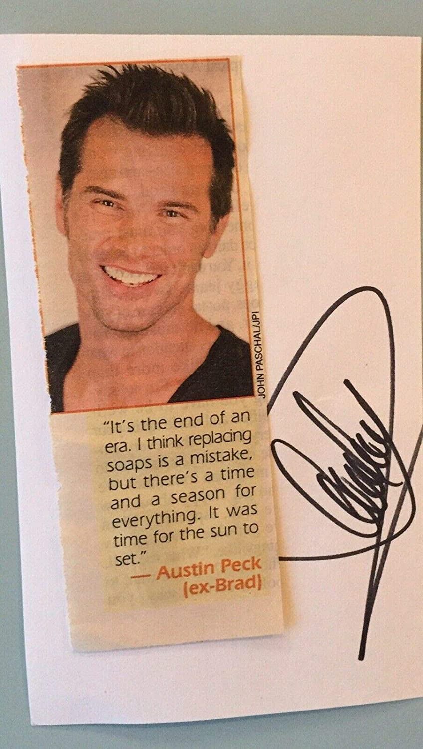 Austin Peck Signed 3x5 Index Card Autograph W Magazine Photo Attached As The World Turns At Amazon S Entertainment Collectibles Store