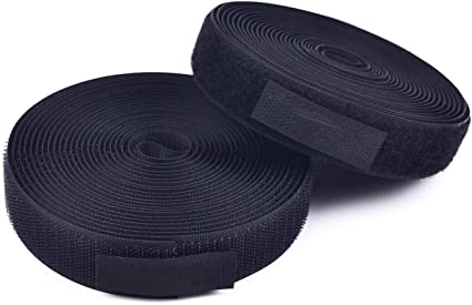 Sew on Hook and Loop Tape Set Non-Adhesive Style Sewing Fasteners Black, 5 Yards 25mm 1 Inch
