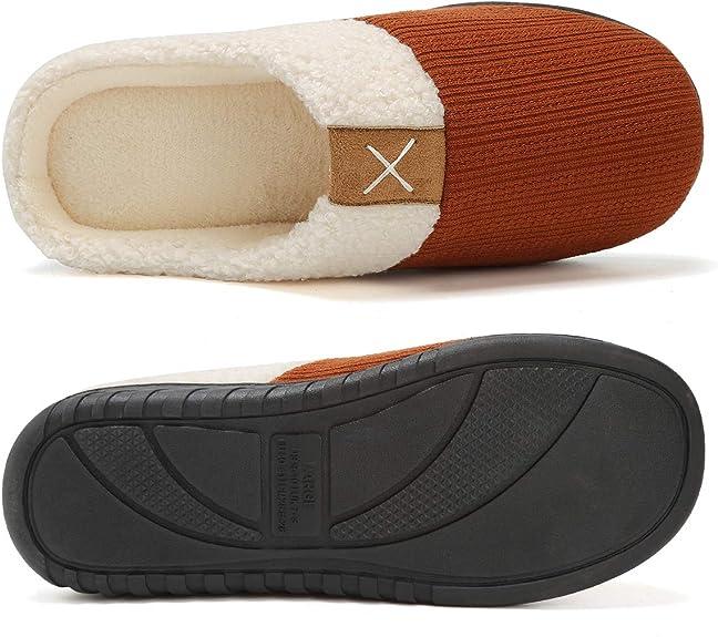 VIFUUR Zapatillas Mujer de casa Espuma de Memoria de Alta Densidad Cálido Interior Lana al Aire Libre Forro de Felpa Suela Antideslizante Zapatos