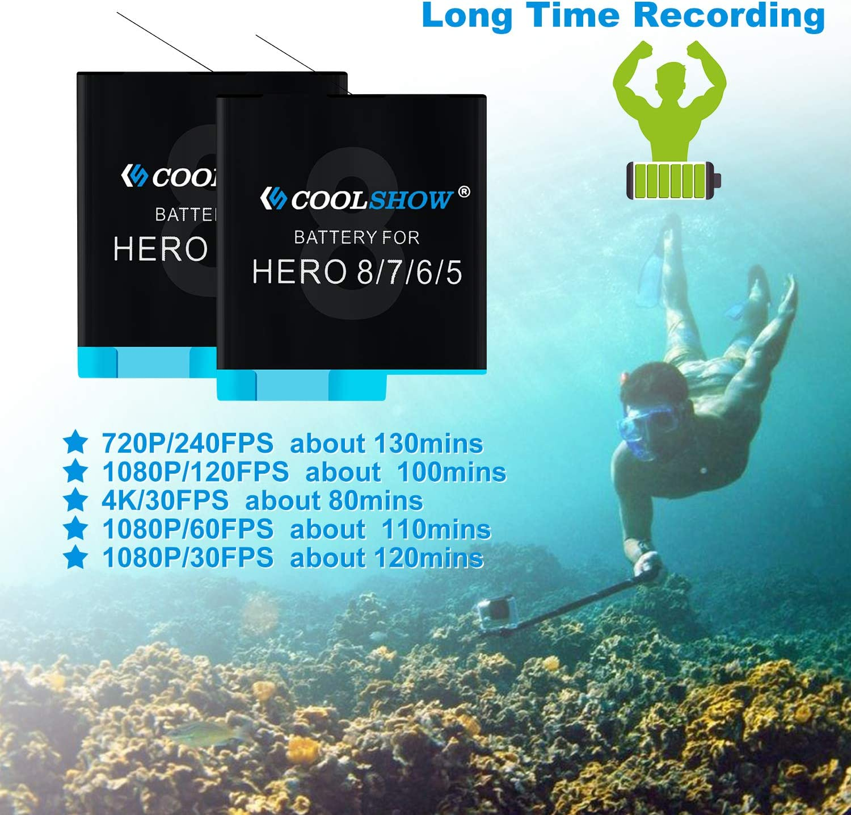 Hero 6 Hero 5 Black Hero 5 Hero 8 Black,Hero 7 Black COOLSHOW 3 Akkus mit 3-Kanal USB Speicherladeger/ät f/ür GoPro Hero 8,Hero 7 Hero 6 Black