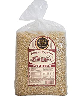 Amish Country Popcorn -Baby White Extra Small and Tender Popcorn, Old Fashioned and Non
