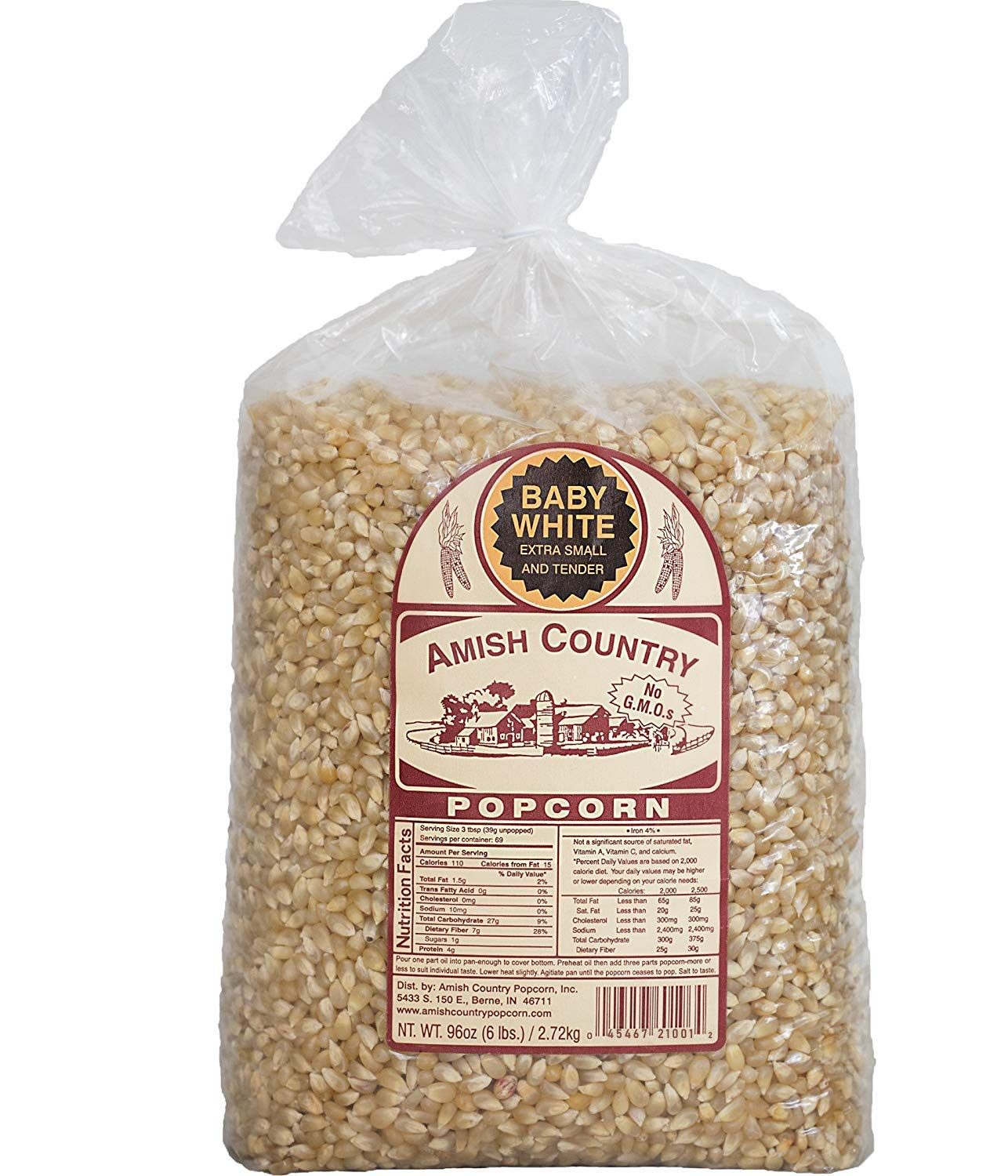 Amish Country Popcorn Baby White Extra Small And Tender Popcorn Old Fashioned And Non