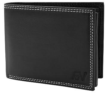 f45e2d7779116 Volmer ® Stabile Schwarze Herren Geldbörse echt Leder Querformat mit RFID  Schutz  First